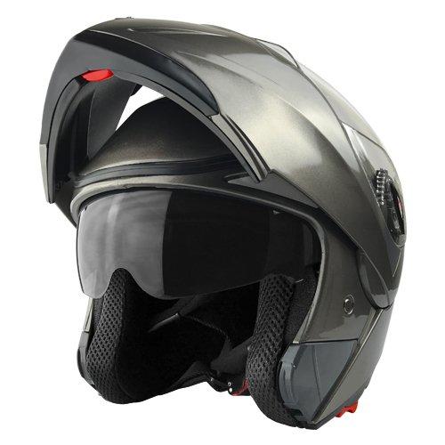 Full Face Modular Motorcycle Helmet - Flip up Style w Dual Visors  Large