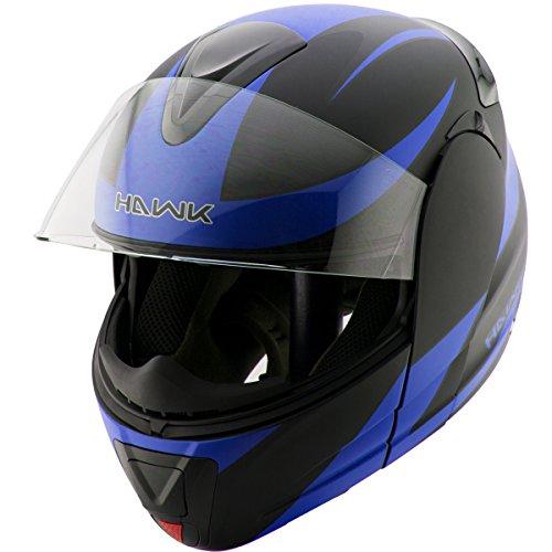 Hawk H-66 Raptor Blue Modular Motorcycle Helmet - Large