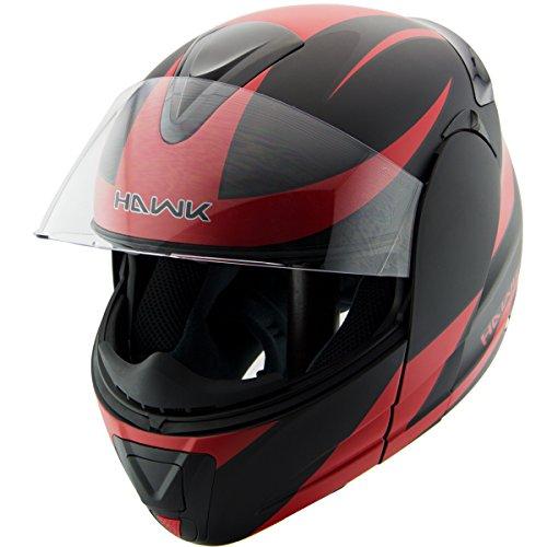 Hawk H-66 Raptor Red Modular Motorcycle Helmet - Large