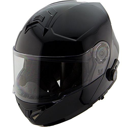 Hawk H7000 Glossy Black Modular Motorcycle Helmet with Blinc Bluetooth - Medium