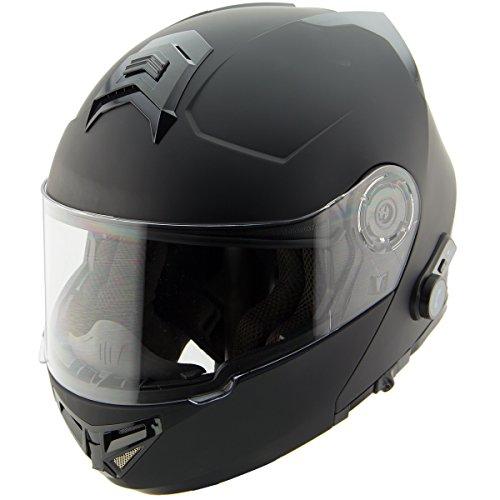 Hawk H7005 Solid Matte Black Modular Motorcycle Helmet with Blinc Bluetooth - Large