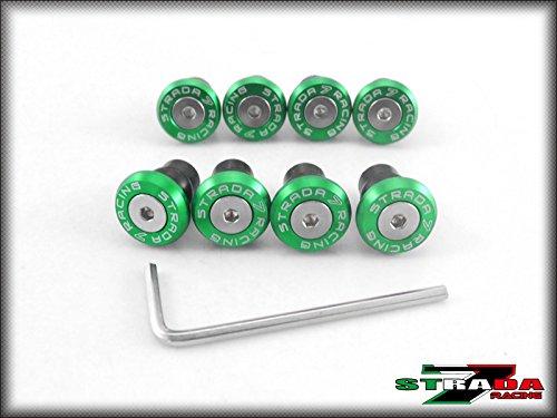 Strada 7 Racing CNC Windscreen Bolts M5 Wellnuts Set Green For Hyosung GT650R