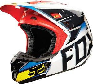 Fox Racing Race Mens V2 Motocross Motorcycle Helmet - BlackRed  X-Large