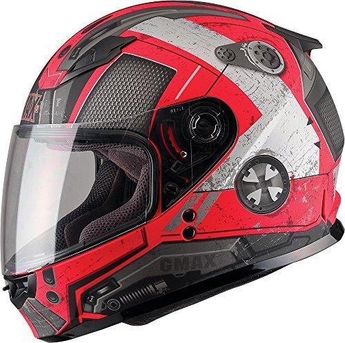 Gmax GM49Y unisex-child full-face-helmet-style Youth Motorcycle Street Helmet Trooper Flat RedDark SilverLarge1 Pack