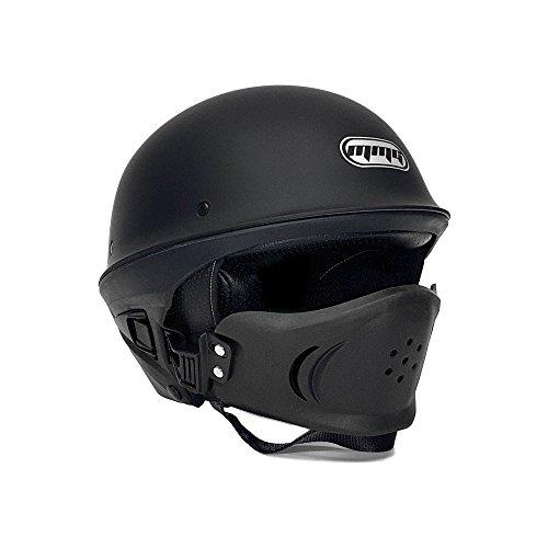 MMG Motorcycle Vader Street Helmet DOT Approved - Solid Matte Black - MEDIUM