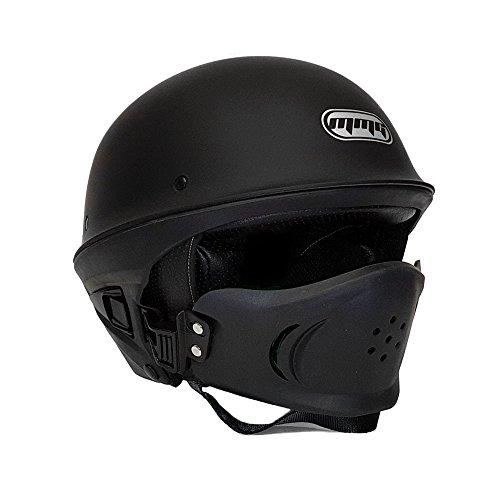 Motorcycle Vader Street Helmet DOT Approved - Solid Matte Black - LARGE