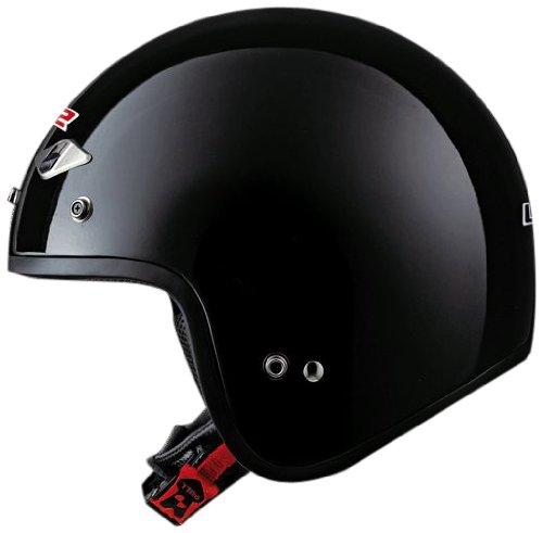 LS2 Helmets OF567 Open Face Motorcycle Helmet Solid Gloss Black Medium