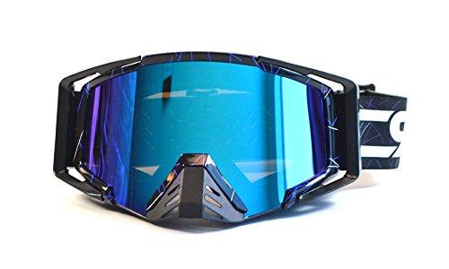 CRG Motocross ATV Dirt Bike Off Road Racing Goggles Adult T815-105 Series Black w Blue Strips