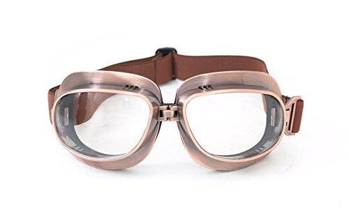 CRG Sports Vintage Aviator Pilot Style Motorcycle Cruiser Scooter Goggle T04 T04ST - Parent Copper Frame Transparent Lens
