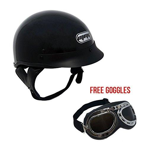 Motorcycle Cruiser Half Helmet DOT Street Legal – Glossy Black X-Large  FREE Goggles Chrome Vintage Pilot Style