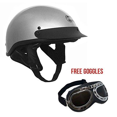 Motorcycle Cruiser Half Helmet DOT Street Legal – SilverGray X-Large  FREE Goggles Chrome Vintage Pilot Style