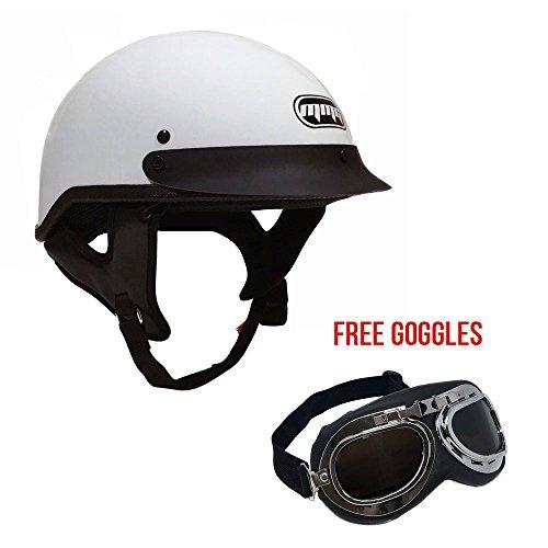 Motorcycle Cruiser Half Helmet DOT Street Legal – White X-Large  FREE Goggles Chrome Vintage Pilot Style