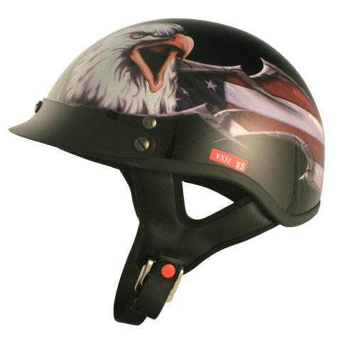 VCAN V531 Cruiser Patriotic Eagle Graphics Half Helmet Gloss Black Medium