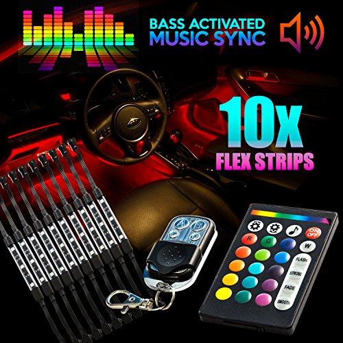 18 Color 10pcs RGB Motorcycle ATV Flexible Strip LED Light Lamp NEON Remote Kit for Honda VTX 1800 TYPE C R S N F T RETRO