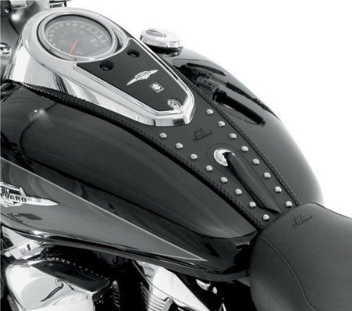 Mustang Black Studded Tank Bibs for Harley Davidson 2003-2009 Honda VTX 1300C - One Size