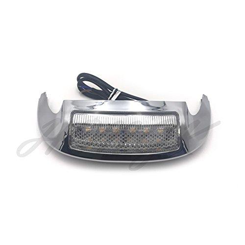 HongK- New Front LED Fender Tip Light Clear Lens for Harley FLHX FLHR 14 15 16 17