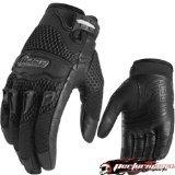 Icon Twenty-niner Women's Leather/mesh Road Race Motorcycle Gloves - Black / Large