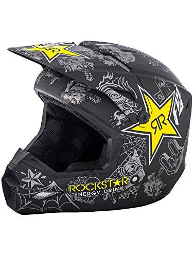 Fly Racing Rockstar Matte Black-Charcoal-Yellow Rockstar 2018 Elite Mx Helmet Xl  Black