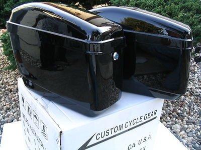 New Hard Saddle bags Saddlebags w mounting kits Fit Honda Shadow Kawasaki Vulcan VN Black