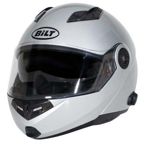 Bilt Techno Bluetooth Modular Motorcycle Helmet - Lg, Silver