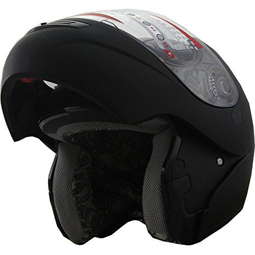 Dot Modular Flip Up Sports Motorcycle Helmet 304 Flat Black (xl)