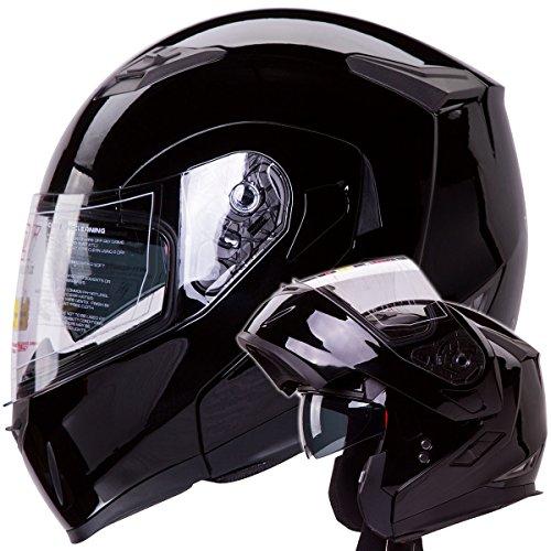 Dual Visor Modular Flip Up Gloss Black Motorcycle Snowmobile Helmet Dot (l)