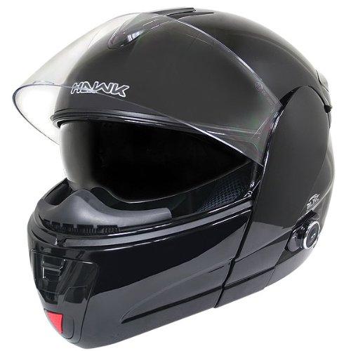 Hawk H-6607 Glossy Black Dual-visor Modular Motorcycle Helmet With Bluetooth - Large