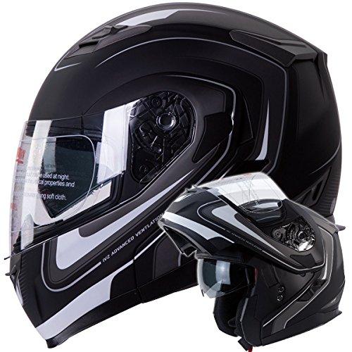 Iv2 Mars Dual Visor Modular Flip Up Matte Black With White Strips Motorcycle Snowmobile Helmet Dot (m)