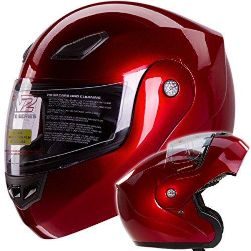 Metallic Wine Red Modular Flip Up Motorcycle Helmet Dot #936 (medium)