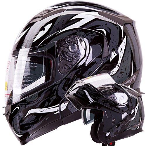 Viper Modular Dual Visor Motorcycle / Snowmobile Helmet Dot Approved (iv2 Model #953) - Black (l)