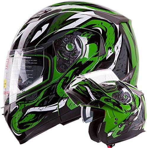 Viper Modular Dual Visor Motorcycle / Snowmobile Helmet Dot Approved (iv2 Model #953) - Green (l)