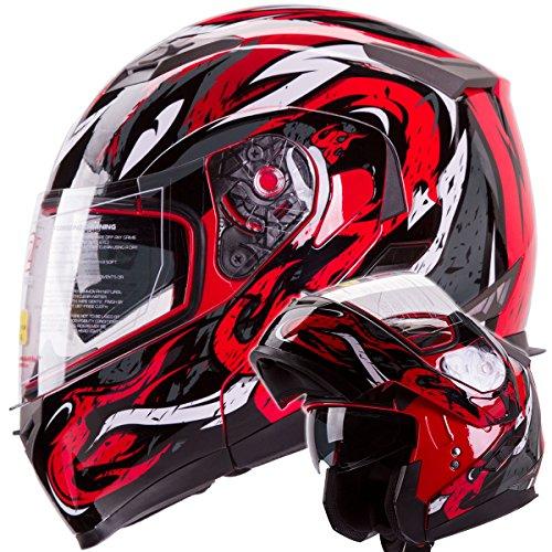 Viper Modular Dual Visor Motorcycle / Snowmobile Helmet Dot Approved (iv2 Model #953) - Red (l)