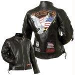 Diamond Plate Ladies Genuine Buffalo Leather Motorcycle Jacket-l (pack Of 1)