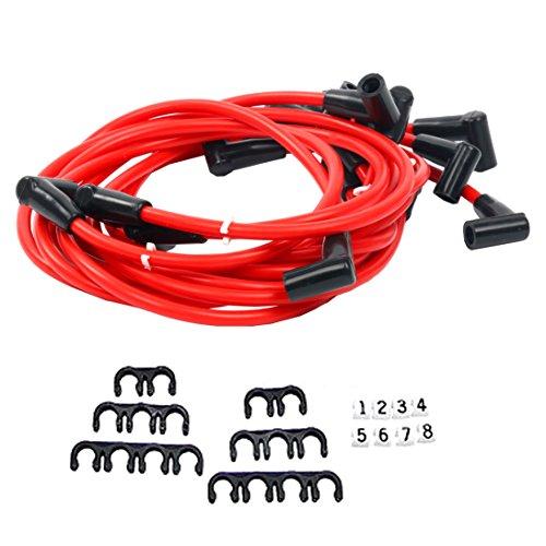 YaeTek 8 PCS 80mm Red Spark Plug Wires 90 Degree Small Block Chevy RC2811