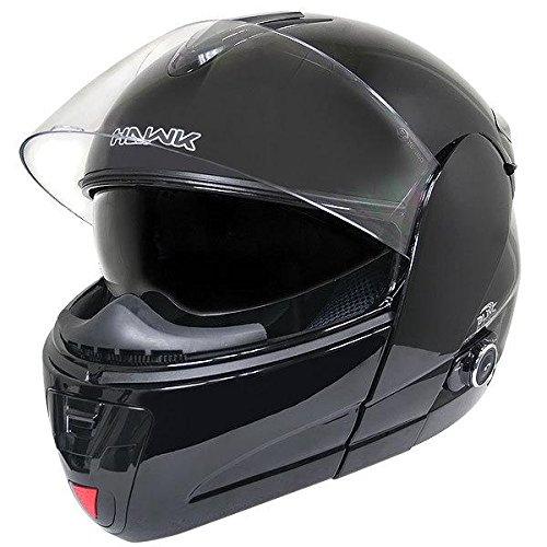 Hawk H-66 Glossy Black Dual-Visor Modular Motorcycle Helmet with Bluetooth - Medium