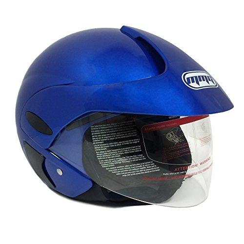 Motorcycle Scooter Open Face Helmet Dot Street Legal - Flip Up Shield - Blue - 203 (large)