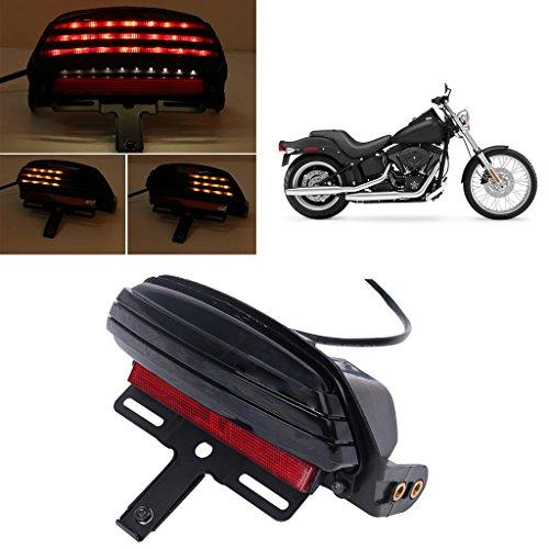 Jade Onlines Tri-Bar LED Fender Turn Signal Tail Light License Plate Bracket For Harley Softail FXST