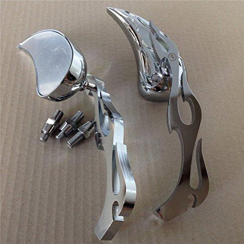 Motor Billet Alloy Teardrop Flame Custom Mirror Harley Softail Fatboy Sportster