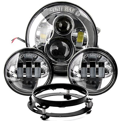 7 LED Projector Daymaker Headlight 45 Passing Lights Ring Bracket for Harley for Harley Davidson Fat Boy FLSTF 1994-2017