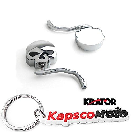 Krator Skull and Flames Universal Custom Chrome Motorcycle Mirrors - Free Adapters Mirrors Fits Most Harley Davidsons Suzuki Honda Kawasaki Cruisers  KapscoMoto Keychain