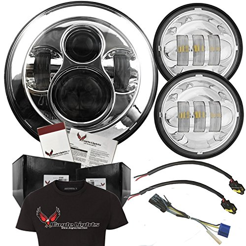 Eagle Lights Chrome Harley Daymaker 7 Round LED Headlight w 2Pcs LED Passing  Fog Lamps Free T-Shirt - Harley Davidson Motorcycles Chrome Includes 69200897 Adapter Harness