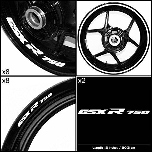 Stickman Vinyls Suzuki GSXR 750 Motorcycle Decal Sticker Package Gloss White Graphic Kit