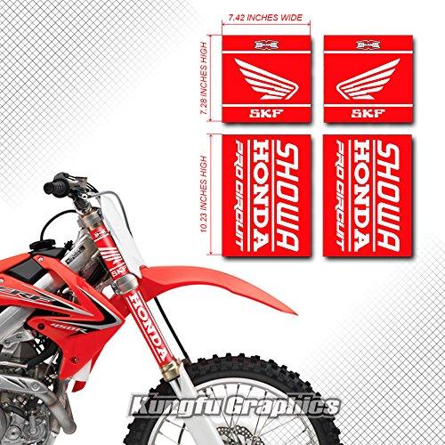 Kungfu Graphics Honda Upper Mid Fork Tube Decal Kit Pack of 4 Red