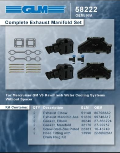 MERCRUISER COMPLETE EXHAUST MANIFOLD SET GM 43L V6 CAST IRON  GLM Part Number 58222