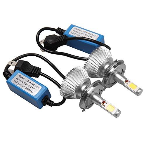 Iglobalbuy 10V-30V 60W 6000LM H4 LED Light Headlight Vehicle Car HiLo Beam Bulb Kit 6000k White