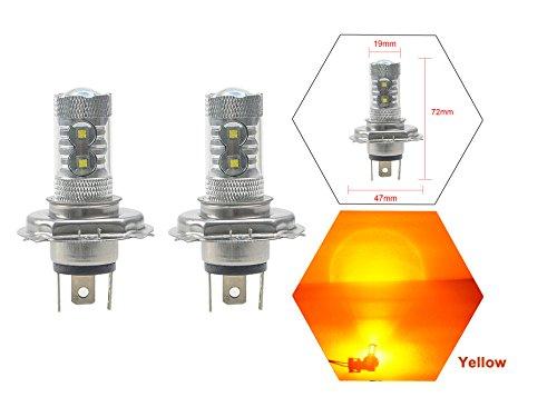 NJYTouch 2Pcs Amber Yellow 60W H4 HB2 9003 12LEDs Projector DRL Daytime Running Fog Light Bulbs High Low Beam Headlight DC 9-24V