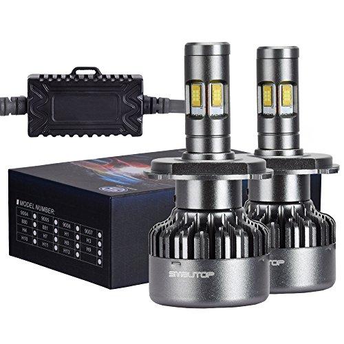 Smautop 2pcs Extremely bright V10 H4 4-Sides Lighting 80W 9000LM 6500K White CSP LED Headlight bulbs-2 Yr Warranty