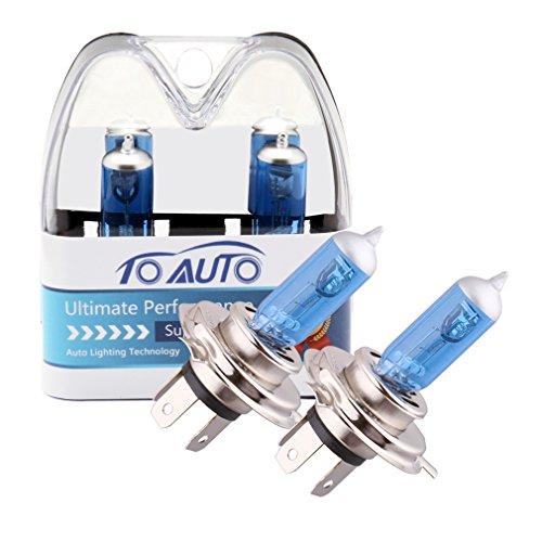 ToAUTO 2 X H4 100W90W 12V Car Headlight Lamp P43t Halogen Light Super Bright Fog Xenon Bulb White
