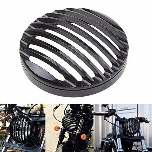 5 34 Black Aluminum Headlight Grill Cover For 2004-2014 Harley Sportster XL 883 1200