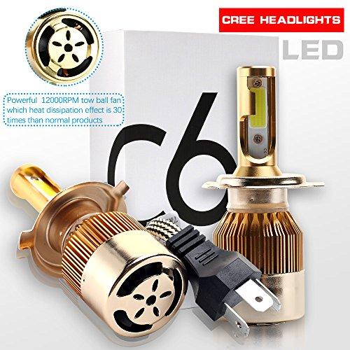 RCJ H4 9003 HB2 LED Headlight Bulbs 9600LM 120W High Low Dual Beam Conversion Bulbs Kit 6000K Cool White COB Chips Super Bright Car Light Replacement Plug Play - 3 Year WarrantyPack of 2